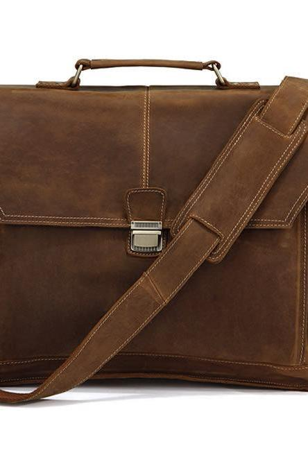 Men's Leather Messenger Bag Handmade Leather Messenger Bag Laptop Bag Leather Travel Bag Men's Leather Briefcase