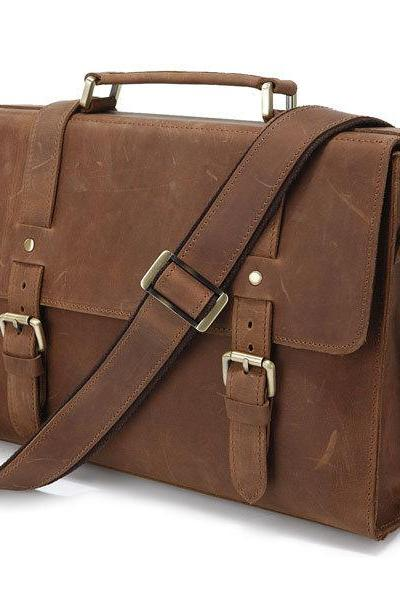 Holidays Gift - Crazy Horse Leather Business Messenger Bag Handmade Leather Men's Messenger Bag Leather Briefcase