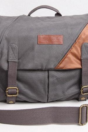 Retro Camera Bag Canvas Camera Bags Camera Messenger Bag Camera Crossbody Bags---smoke gray / coffee
