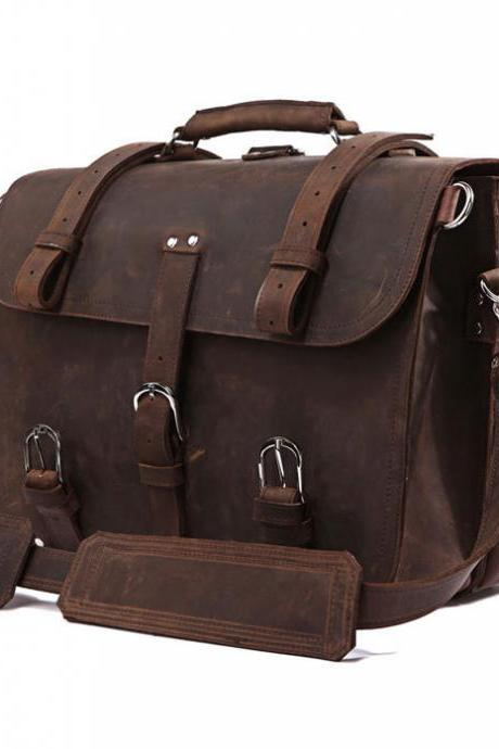 High Quality Messenger Bag / Men's Leather Traveling Bag /Brown Leather Luggage / Large-size Leather Bag