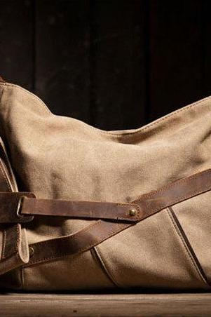 Gift - Khaki Canvas Bag Leather Canvas Messenger bag Canvas Cross-body bag---M/L