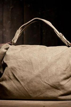 Gift - KHAKI Canvas Leisure bag Leather Canvas Messenger bag Canvas Handbag
