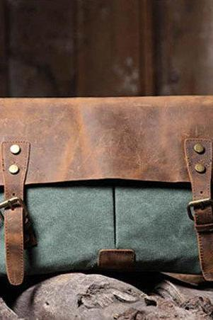 Handmade Leather Canvas Bag Canvas Messenger Bag Student Canvas Bag Leisure Canvas Bags