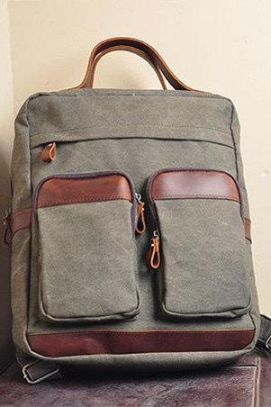 Army Green Canvas Bag Canvas Backpacks Leisure Leather/Canvas Backpack Canvas Hangbags