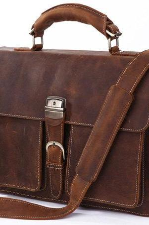 Handmade Leather Messenger Bag Men's Business Briefcase Leather Handbag Leather Laptop Bag