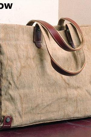 Handmade Leather Canvas Bag Canvas Shoulder Bag Student Canvas Bag Leisure Canvas Bags Cotton canvas bag