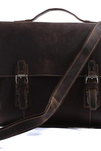 Cowboy Crazy Horse Leather Bag / Men's Brown Business Messenger Bag / Leather Handbag / Leather Laptop Bag / Leather Briefcase