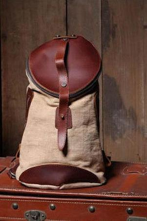 Bucket Canvas Bag Canvas Backpacks Leisure Leather/Canvas Backpack School Canvas Bags