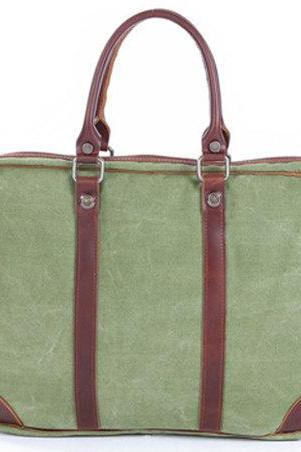 Coral Green Canvas Bag Canvas Messenger Bag Leisure Canvas Handbag Leather/Canvas Crossbody Bags