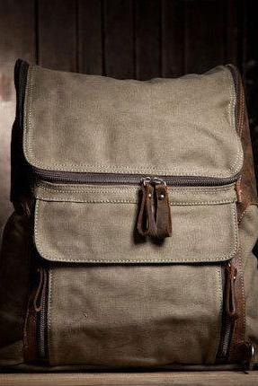 Canvas Backpacks Canvas Bag Student Leisure Canvas Backpacks Handmade Leather Canvas Backpacks