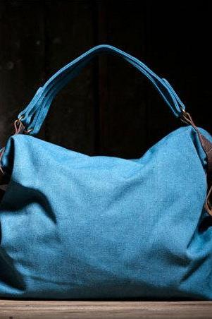 Thanksgiving Gift - Blue Canvas Leisure Tote Leather Canvas Messenger bag Canvas Handbag
