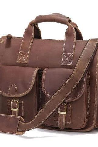 Christmas Gift---Cowboy Crazy Horse Leather Men's Brown Briefcase Laptop Hand Bag