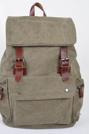 Army Green Canvas Bag, Leather-Canvas Backpacks , Canvas Backpacks, Student Canvas Backpack, Leisure Canvas backpack
