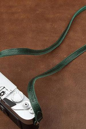 Dark green Leather Camera strap, DSLR Camera Strap , Leather Camera Strap--Round-hole type camera interface