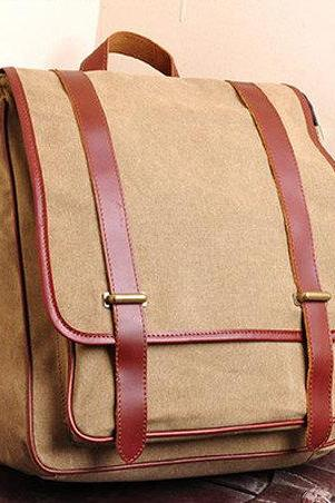 Canvas Bag Canvas Backpacks Leisure Leather/Canvas Backpack --- Khaki/ Army Green