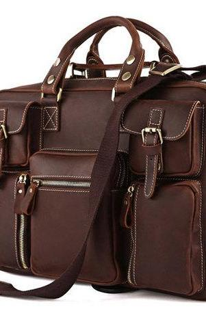 Christmas Gift---Rare Crazy Horse Leather Men's Briefcase Laptop Bag Dispatch Shoulder Huge 16.5''