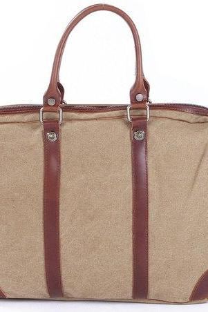 Khaki Canvas Bag Canvas Messenger Bag Leisure Canvas Handbag Leather/Canvas tote