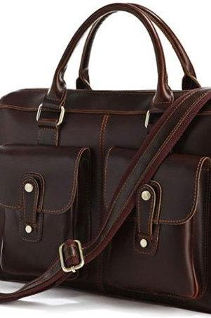 Brown Leather Messenger Bag Multifunction Leather Bags Messenger Bags Laptop Bag Business Men's Briefcase