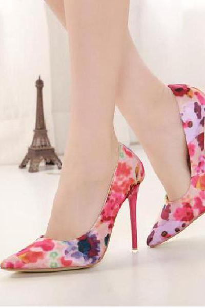 European and American retro style fashion printing pointed heels
