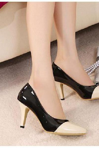 Fine with high-heeled patent leather mixed colors shallow mouth high-heeled shoes, women's singles