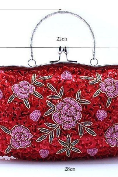 High Quality Fashion Evening Red Beaded Clutch for Women