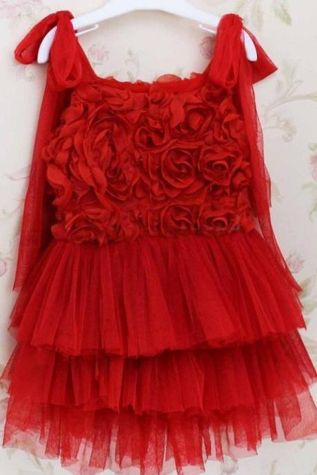 Red Novelty Dress for Toddler Girls Photography Session Pretty Red Rosette Dress for Girls