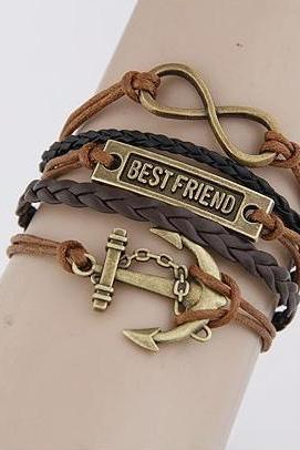 Anchor-best friend-Motto-Infinity Bracelet Brown wax cord Brown Braided Leather Antique Bronze Cute Personalized Jewelry friendship gift