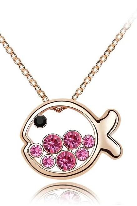 Female necklace - small princess crystal pendant female