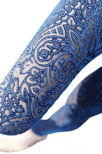 Fashion Blue Hollow Out Gold Velvet Carved Leggings