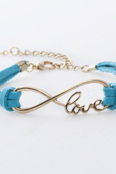 All-match LOVE 8 Bracelet Infinity bracelet- Karma bracelet- Vintage blue string bracelet Adjustable khaki string bracelet-Vintage love bracelet friendship gift girlfriend gift