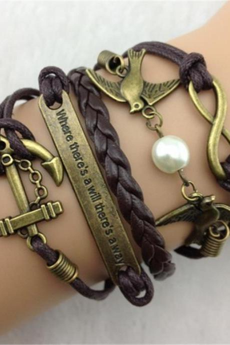 infinity bracelet birds bracelet anchor bracelet Charm Bracelet brown Wax Cords brown Leather personalized Bracelet