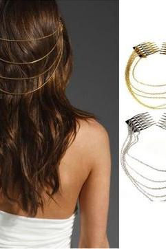 1pc Fashion Punk Rock 2 Combs Tassels Fringes Chains Hair Cuff Pin Head Band