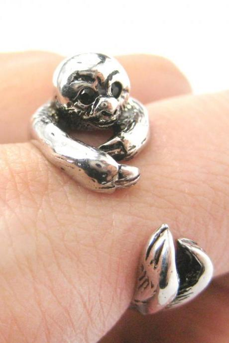 Realistic Sloth Animal Wrap Around Hug Ring in Shiny Silver - Sizes 5 to 10 Available