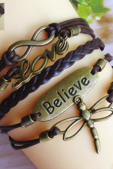 infinity Believe dragonfly LOVE lucky 8 Bracelet brown wax cord multiple wax rope woven Leather Antique Bronze Cute Personalized Jewelry friendship gift