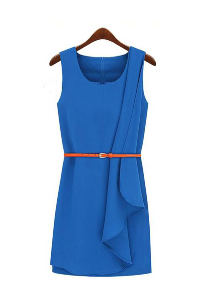 Fashion O Neck Tank Sleeveless Blue Cotton Asymmetrical Sheath Mini Dress