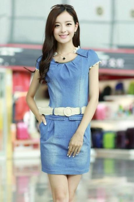 Short sleeve round collar lace chiffon cowboy dress