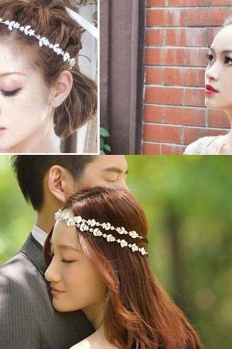 FLORAL CRYSTAL FLOWER LEAVES BRIDAL HEADBAND HAIRBAND BOHEMIA HAIR PIECE BAND CUFF ACCESSORY TIARA Headwear Wedding Hair Jewelry