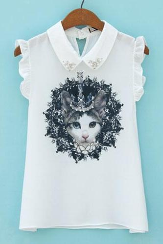 Crowned Cat Print Rhinestones Falbala Tank Top Blouse