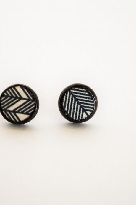 Navajo Cirrcular Earrings - Wood Stud Earrings