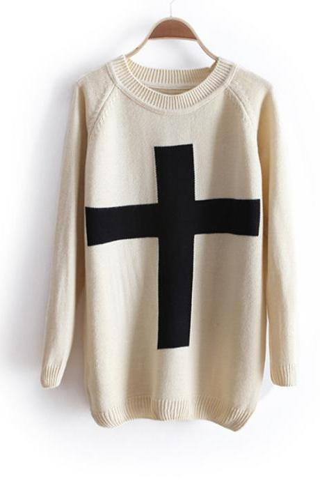 Fashion Cross Pullover Long Sleeve Sweater - Beige