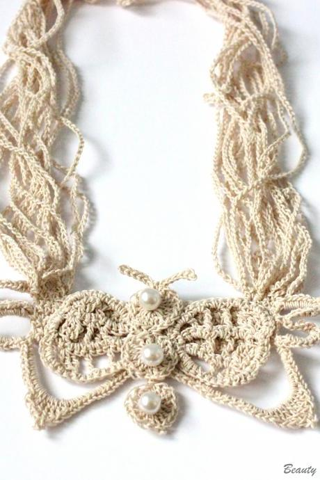 Crochet Pattern Butterfly Necklace Crochet Stand Necklace Pattern, Crochet Jewelry Pattern Bib Necklace Pattern