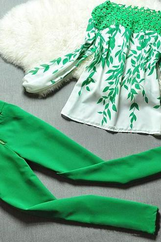 Green leaves printed suit jacket + Pants H44211