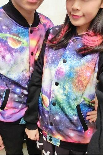 Spring Autum Fall Winter 2014 Harajuku Unisex Galaxy Planet Jacket