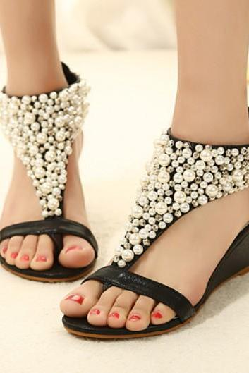 Rome shiny beaded wedge sandals low-heeled wedding shoes Item: 982268