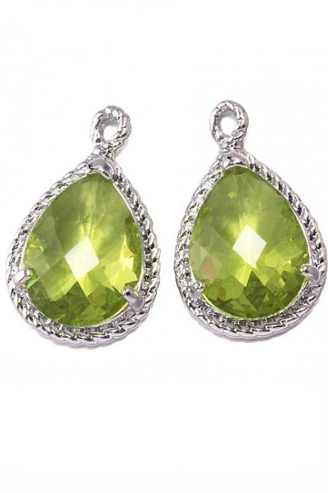Apple Green Glass Pendant . Polished Original Rhodium Plated / 2 Pcs - CG001-PR-AG