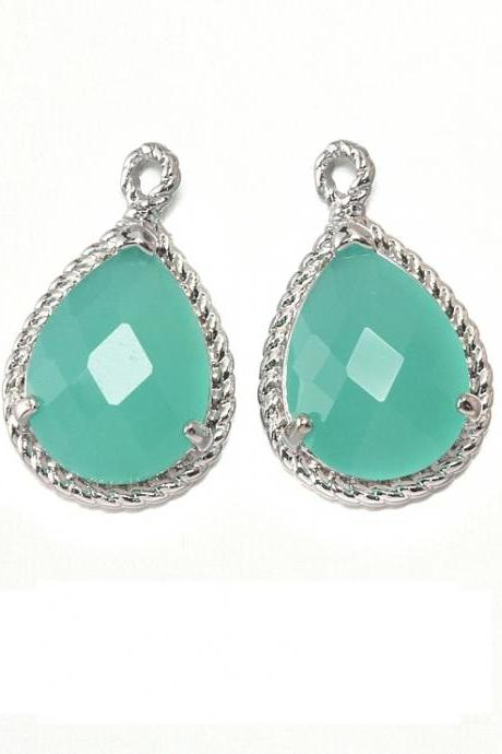 Mint Glass Pendant . Polished Original Rhodium Plated / 2 Pcs - CG001-PR-MT