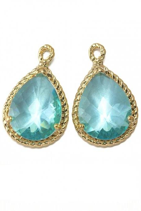 Aquamarine Glass Pendant . 16K Polished Gold Plated / 2 Pcs - CG001-PG-AQ