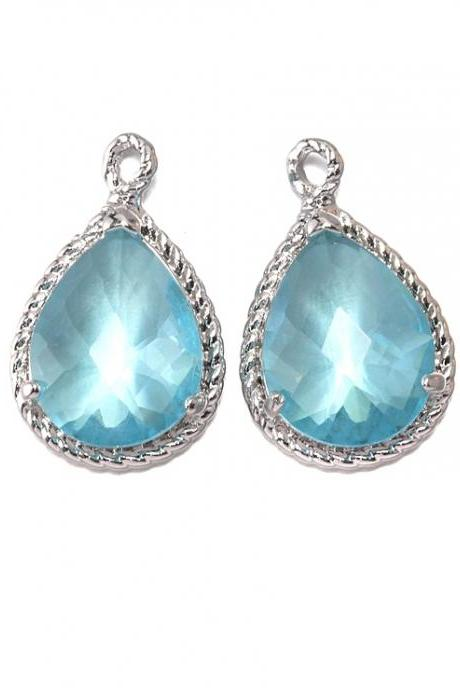 Aquamarine Glass Pendant . Polished Original Rhodium Plated / 2 Pcs - CG001-PR-AQ