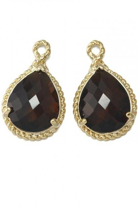 Smoky Topaz Glass Pendant . 16K Polished Gold Plated / 2 Pcs - CG001-PG-ST
