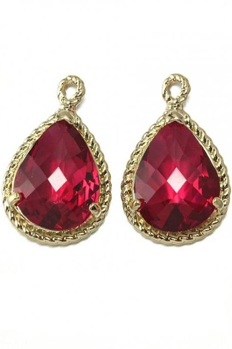 Ruby Glass Pendant . 16K Polished Gold Plated over Brass Frame / 2 Pcs - CG001-PG-RB